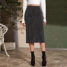 High Waist Zip Back Slit Hem Skirt