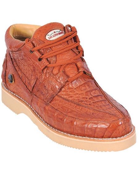 Genuine COGNAC Full Caiman Crocodile Casual Los Altos Shoes Lace Up EE