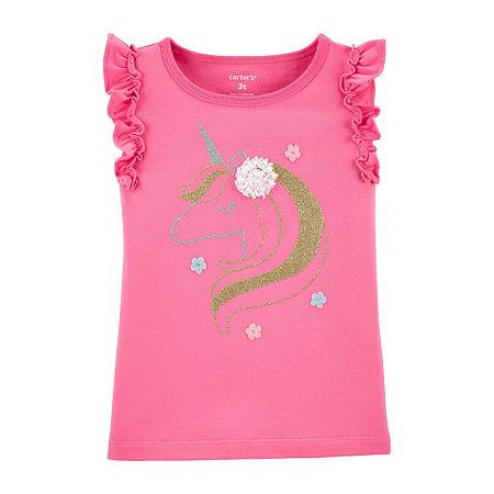 Carter's Toddler Girls Round Neck Sleeveless Graphic T-Shirt, 2t , Pink