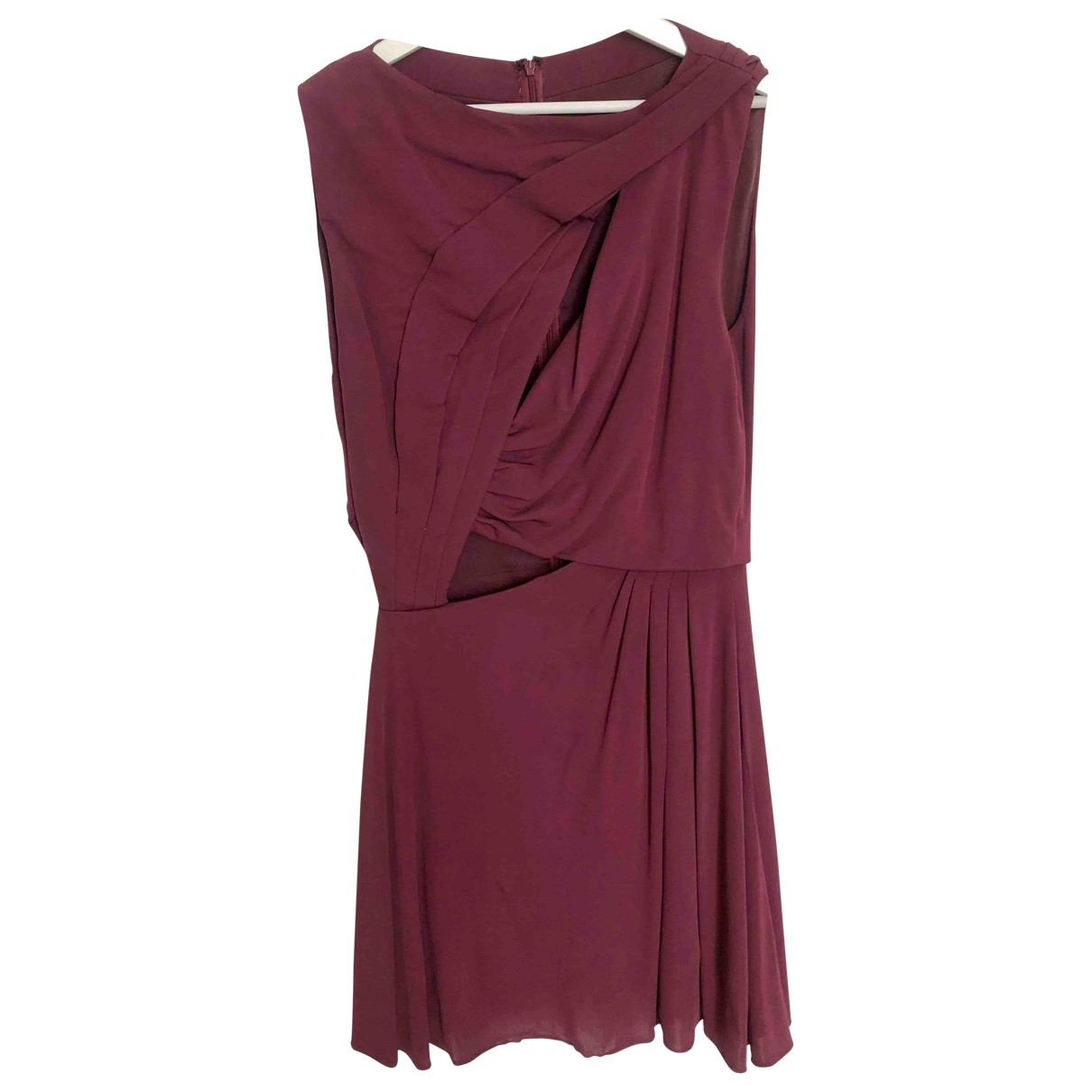 Halston \N Kleid in  Bordeauxrot Seide