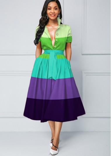 Wedding Guest Dress Button Detail Color Block Stripe Print Dress - S