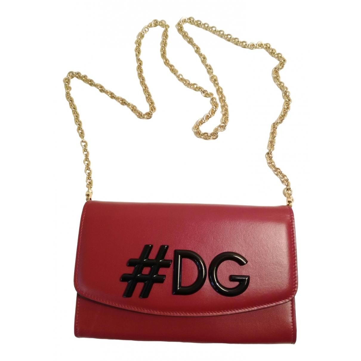 Dolce & Gabbana - Pochette   pour femme en cuir - bordeaux