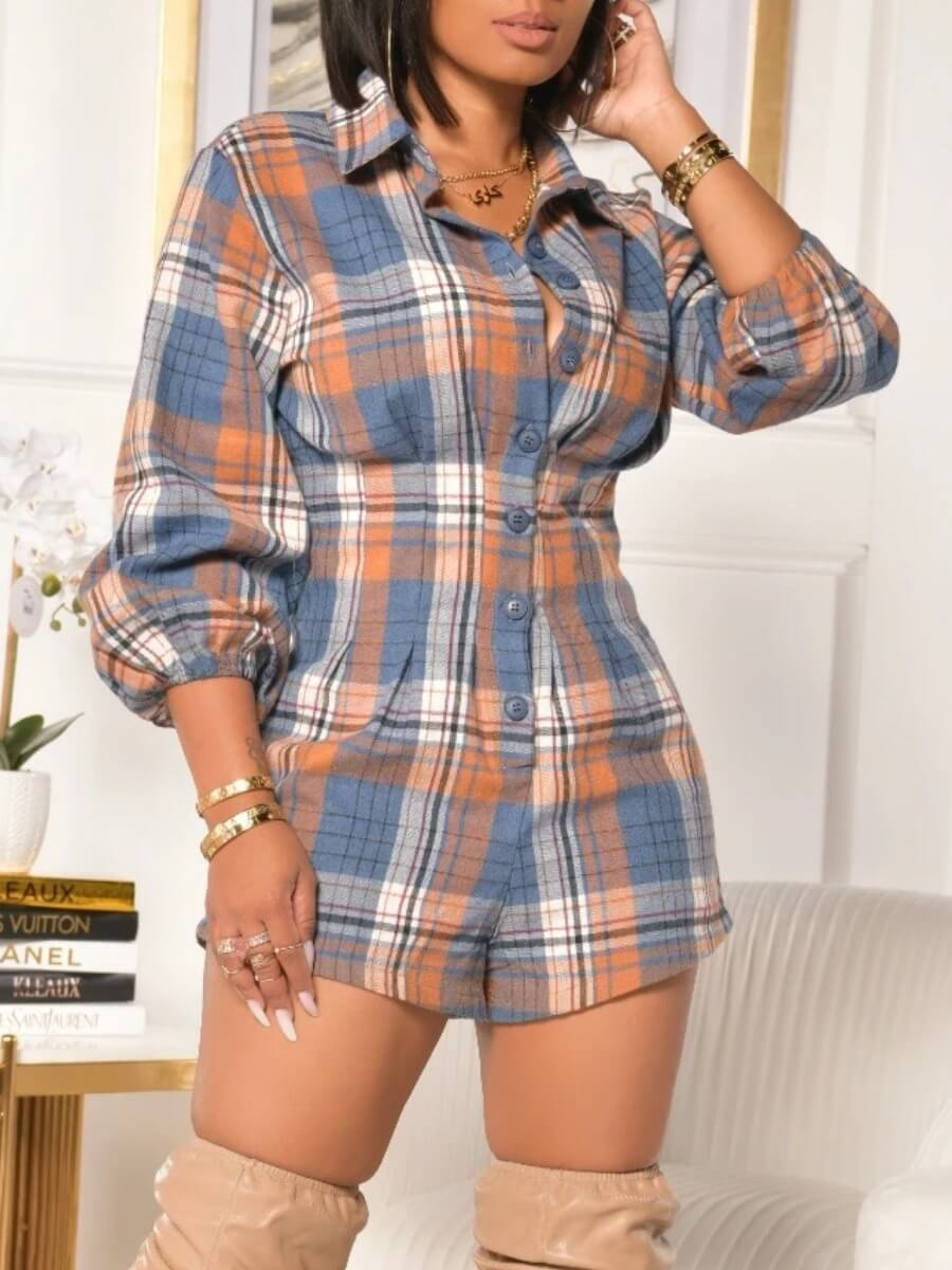 LW Lovely Casual Plaid Print Patchwork Button Design Blue One-piece Romper