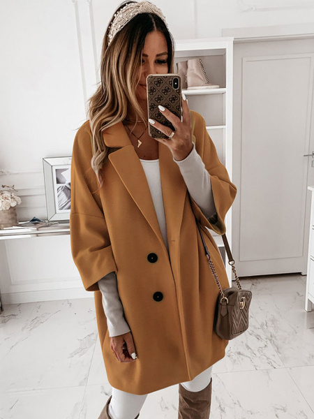 Milanoo Abrigo de mujer Cuello vuelto Botones Poliester Casual Blanco Abrigo de piel sintetica de invierno