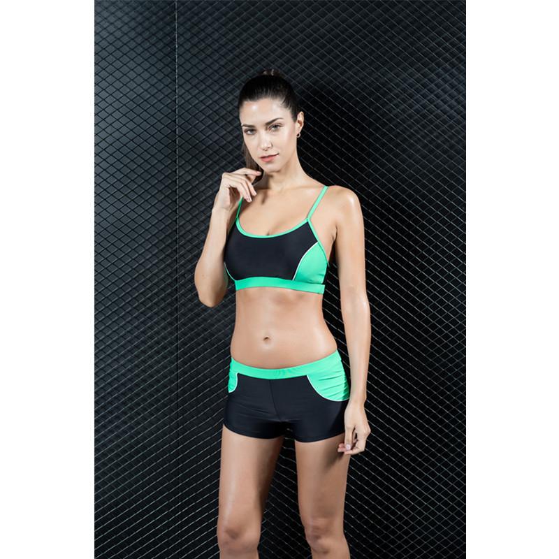 Plus Size Women Sport Patchwork Swimwear Bikini Set