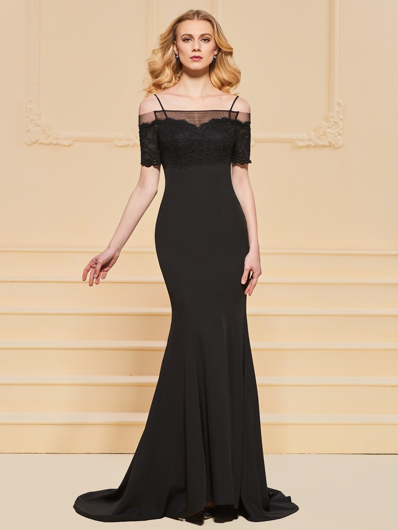 Ericdress Off The Shoulder Applique Black Mermaid Evening Dress