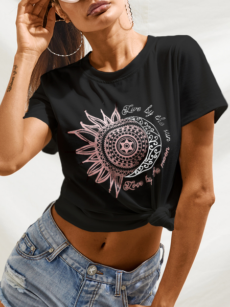 Yoins Graphic Letter Print Crew Neck Short Sleeves Tee