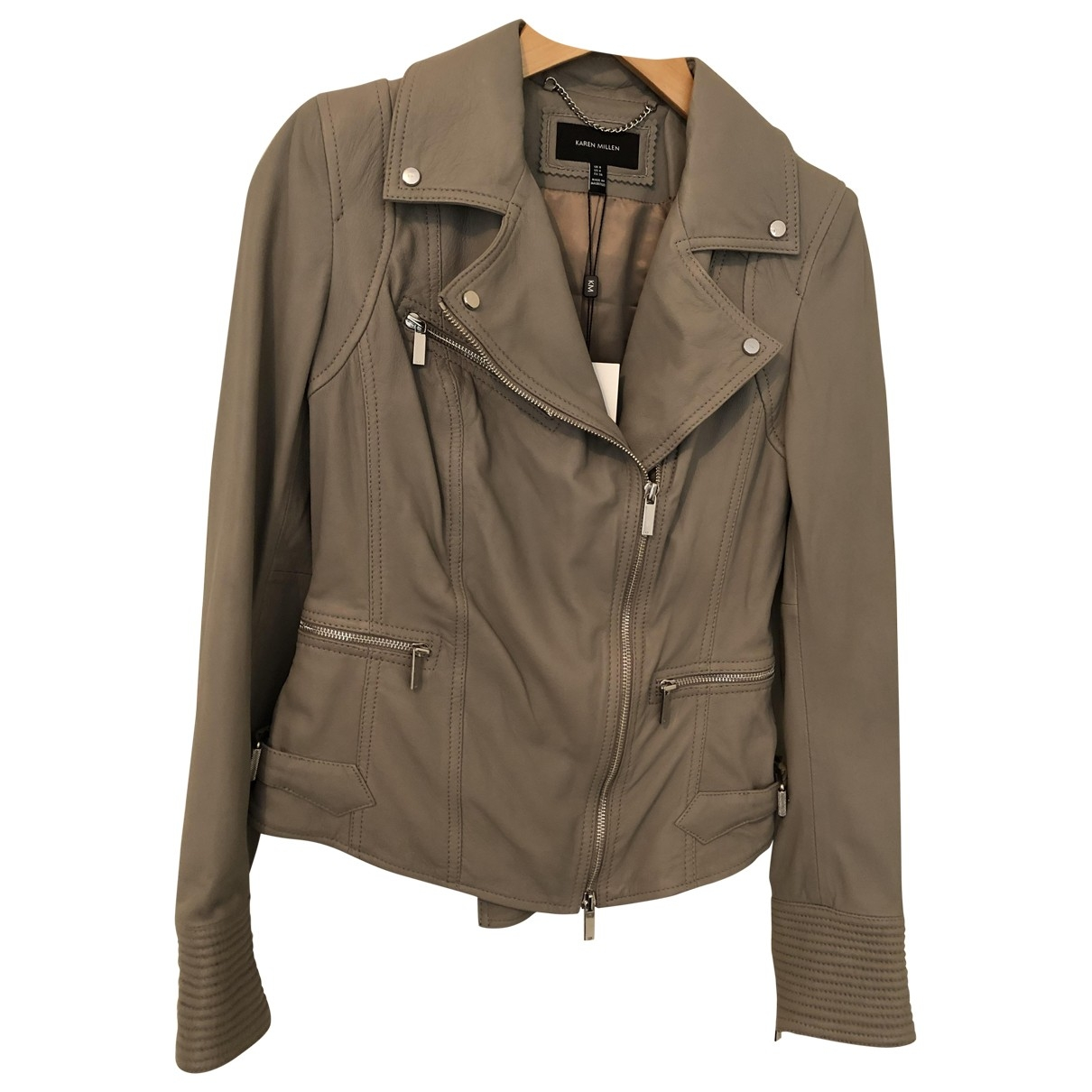Karen Millen \N Grey Leather Leather jacket for Women 8 UK