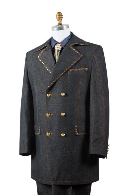 Mens Stylish Trench Collar Brass Accent Denim Black Zoot Suit