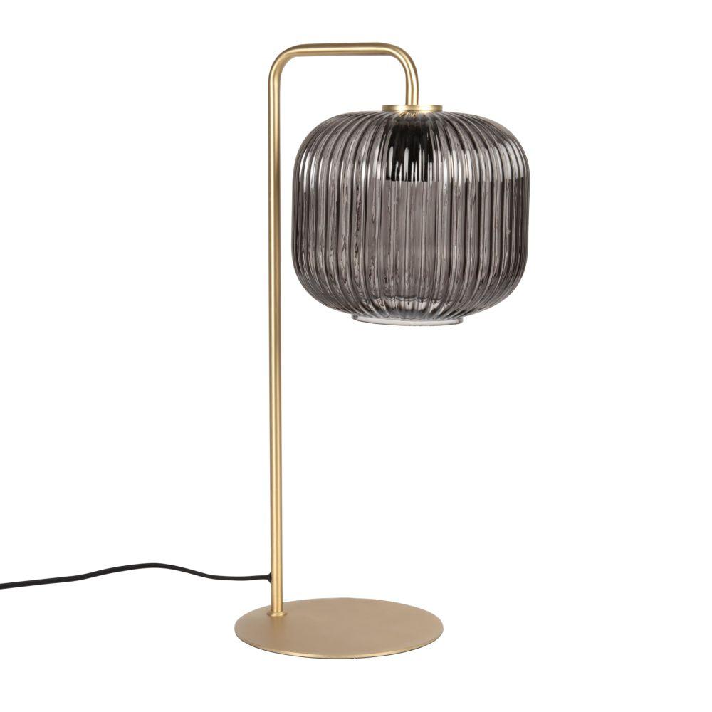 Lampe aus goldfarbenem mattem Metall und Rauchglas