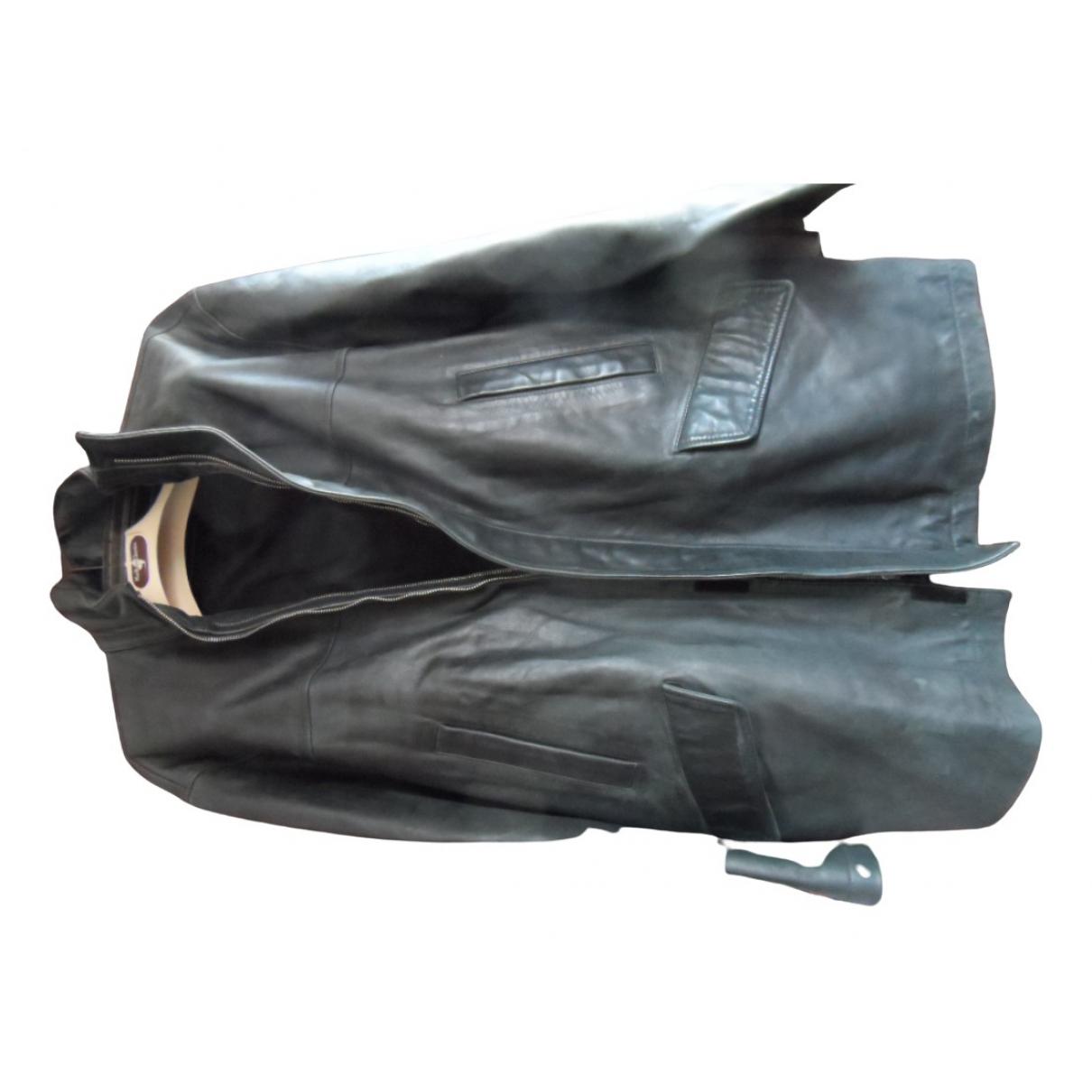 Givenchy - Manteau   pour homme en cuir - gris