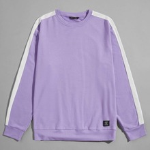 Men Contrast Side Seam Patched Detail Pullover