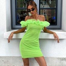 Neon Lime schulterfreies Kleid mit Rueschen und Netzstoff