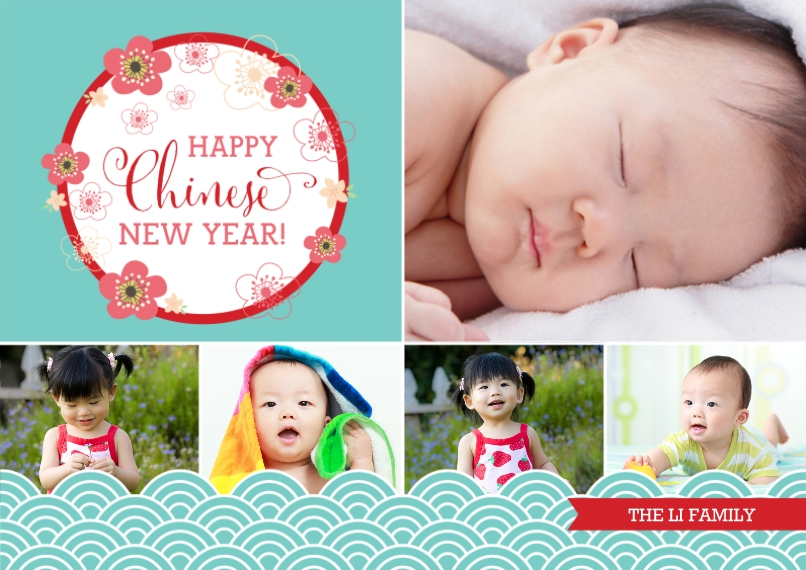 Chinese New Year 5x7 Cards, Premium Cardstock 120lb with Scalloped Corners, Card & Stationery -Happy Chinese New Year Floral