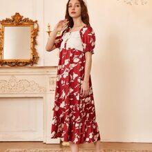Satin Nachtkleid mit Kontrast Spitze und Blumen Muster