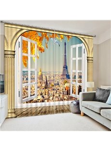 Creative and Grand Eiffel Tower Scenery Printed Decorative Custom 3D Curtain