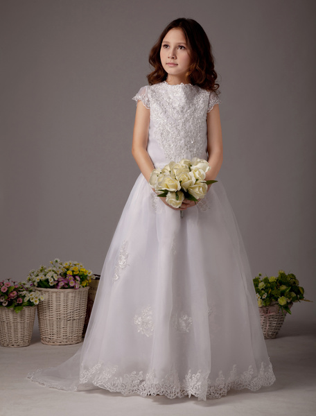 Milanoo White High Collar Ball Gown Satin Lovely Flower Girl Dress