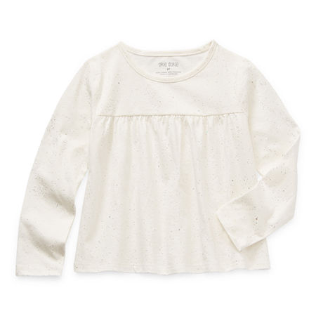 Okie Dokie Toddler Girls Round Neck Long Sleeve T-Shirt, 4t , White