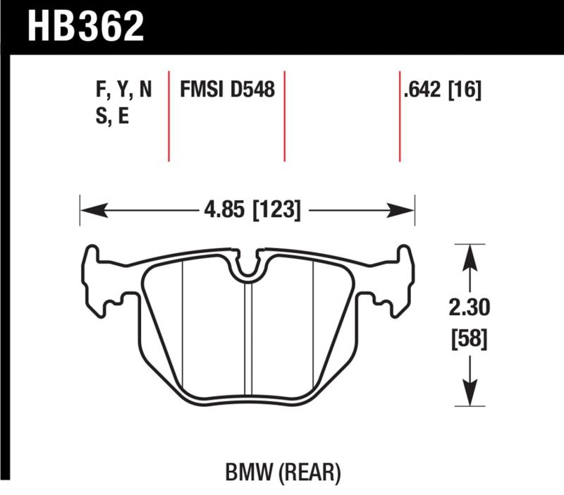 Hawk Performance HB362F.642 Disc Brake Pad BMW Rear