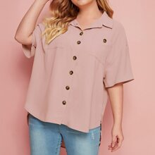 Plus Collared Pocket Front Buttoned Front Dip Hem Blouse