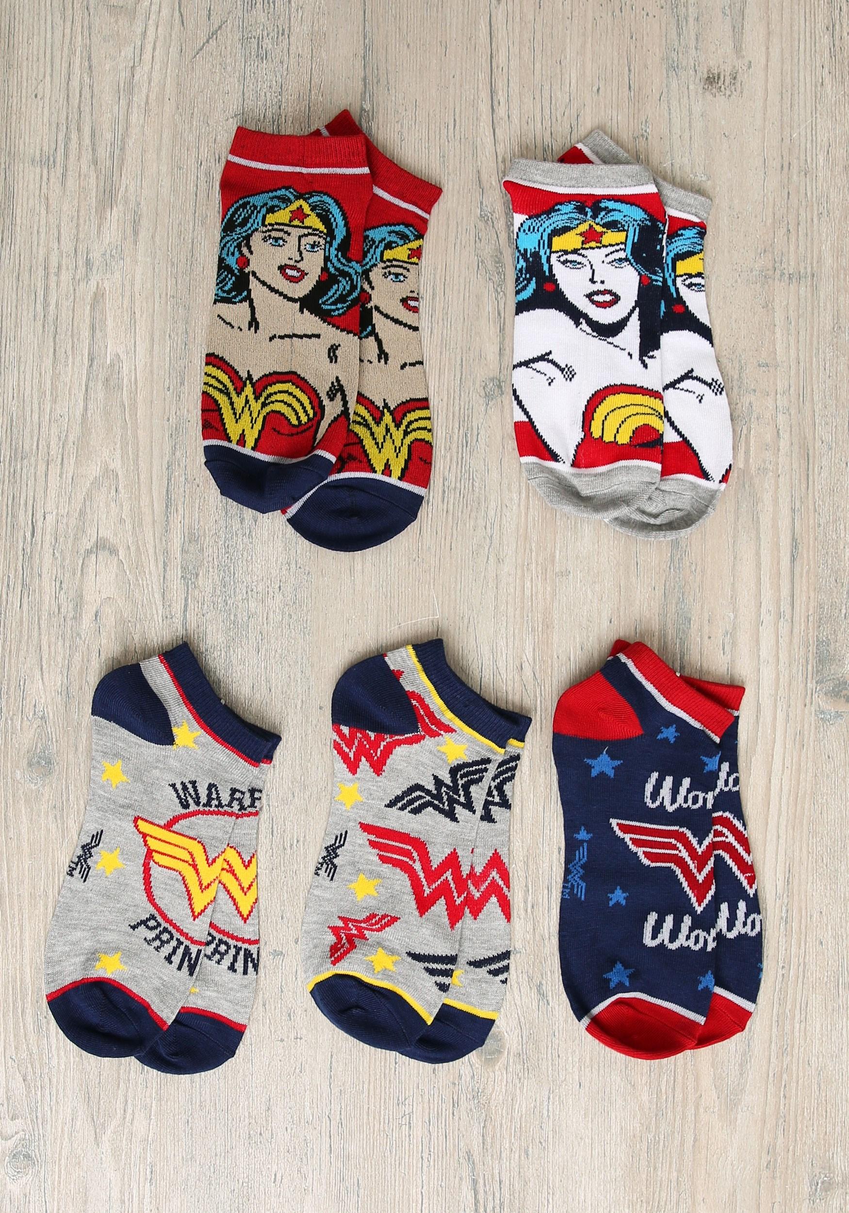 5 Pair Ankle Pack Wonder Woman