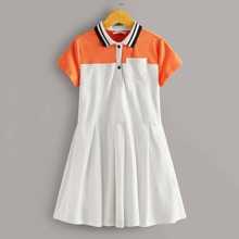 Maedchen Polo Kleid mit Farbblock, Streifen am Kragen, Taschen vorn und Falten