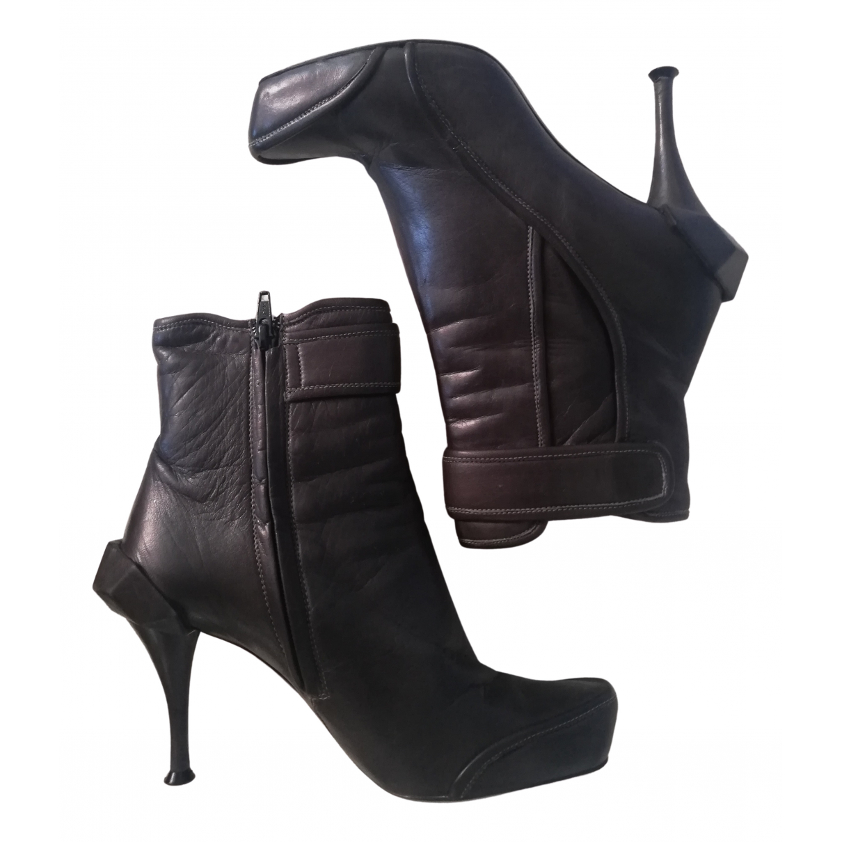 Celine N Grey Leather Boots for Women 36 EU