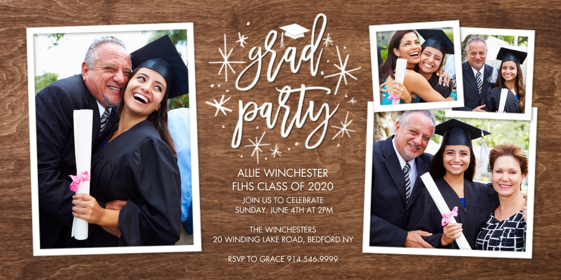 2020 Graduation Invitations Flat Glossy Photo Paper Cards with Envelopes, 4x8, Card & Stationery -Grad Party Floating Stars by Tumbalina