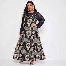 Maxi Kleid mit Grafik Muster und Kontrast Spitze