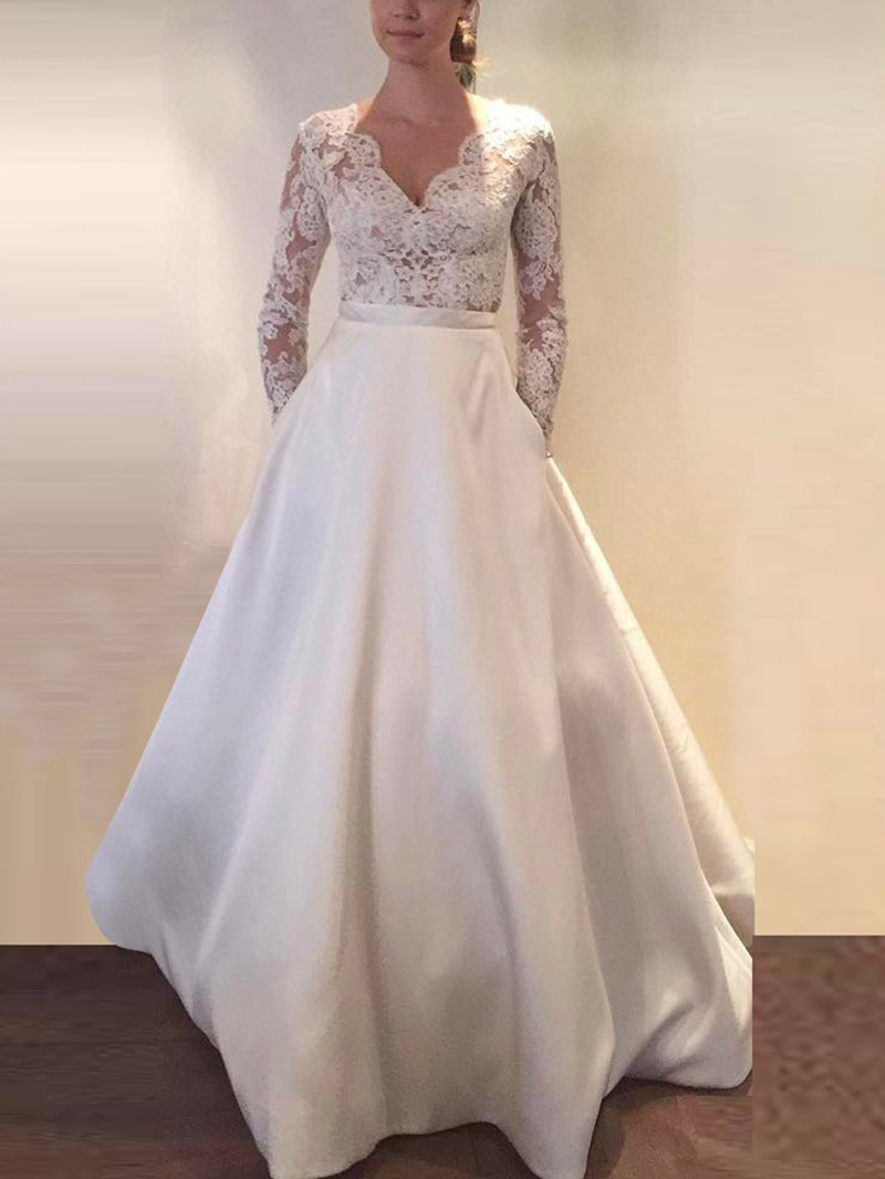 Ericdress Appliques Pockets Long Sleeves Wedding Dress