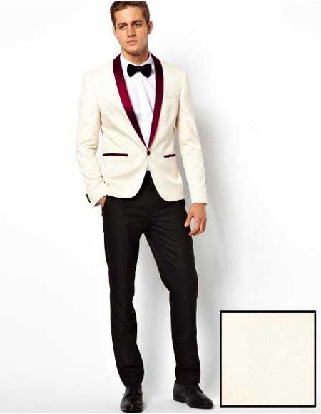 Mens White One Button Burgundy Shawl Lapel Blazer