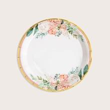 10 piezas plato desechable con estampado de flor