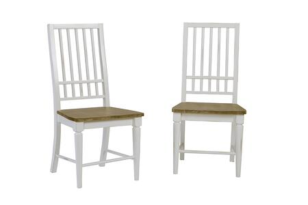 Shutters D884-61 Dining Chairs (Set of 2) with Stretchers  Slat Back and Tapered Legs in Light Oak and Distressed