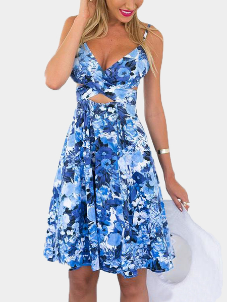 Yoins Floral Print V-neck Sleeveless Midi Dress with Cutout Details