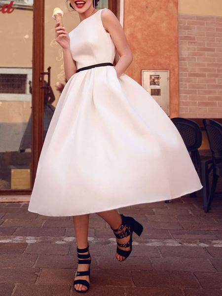 Milanoo Vestidos de novia vintage 2020 Cuello bateau Sin mangas con cinturon Longitud del te Vestidos de novia