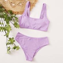 Plain Square Neck Bikini Swimsuit