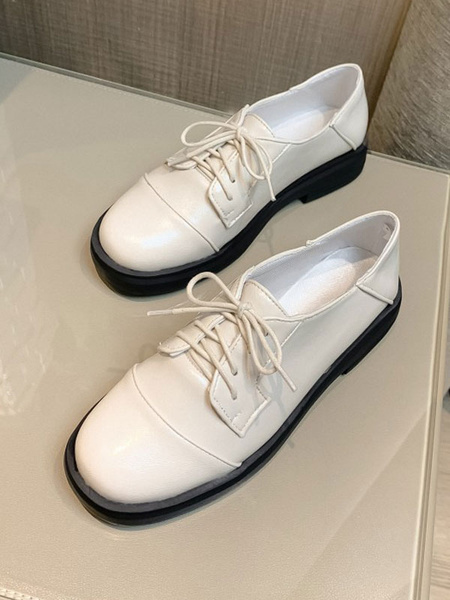 Milanoo Black Casual Shoes Women Round Toe PU Leather Lace Up Oxfords