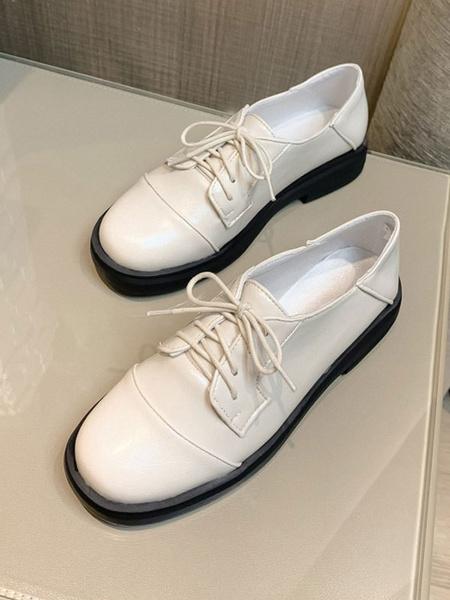 Milanoo Zapatos casuales negros Mujer Punta redonda Cuero de PU con cordones Oxfords
