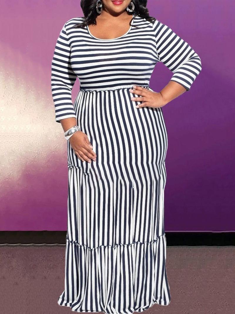 Ericdress Floor-Length Three-Quarter Sleeve Stringy Selvedge A-Line Pullover Dress