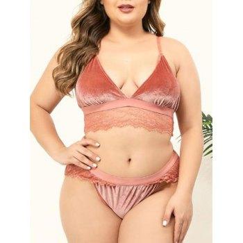 Plus Size Plunge Lace Panel Velvet Bra Set