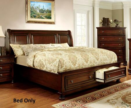 Northville Collection CM7683EK-BED Eastern King Size Bed with 2 Drawers  Curved Headboard  Bun Feet  Solid Wood and Wood Veneers Construction in Dark