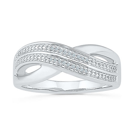 Womens Diamond Accent Genuine White Diamond Sterling Silver Crossover Cocktail Ring, 8 , No Color Family