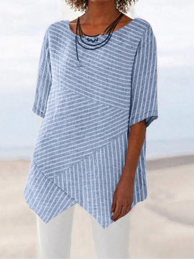 Ericdress Round Neck Mid-Length Half Sleeve Blouse