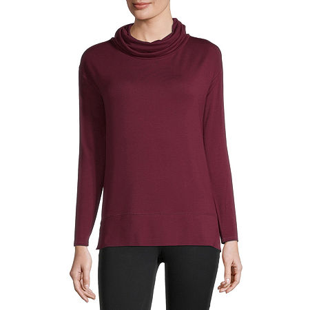 Liz Claiborne Womens Cowl Neck Long Sleeve Tunic Top, Medium , Red