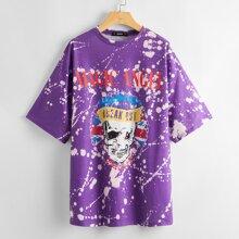 Langelinie T-Shirt mit sehr tief angesetzter Schulterpartie und Buchstaben & Schaedel Muster