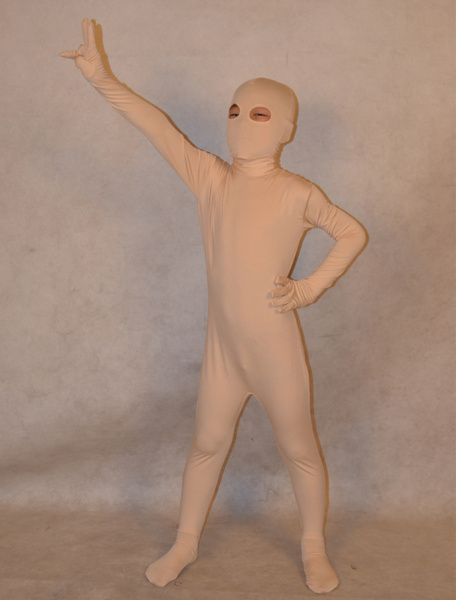 Milanoo Halloween White Unisex Lycra Spandex Unicolor Kid's Zentai Suits Halloween