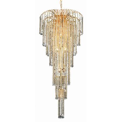 V6801G25G/RC Falls 11 Light Gold Chandelier Clear Royal Cut