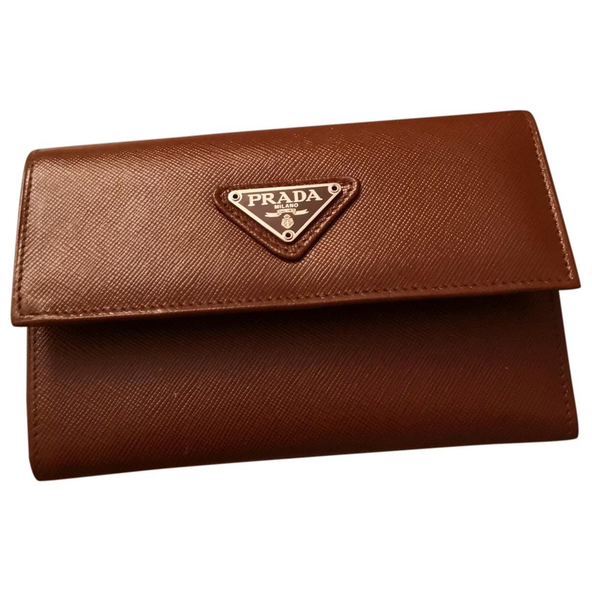 Prada Tessuto  Portemonnaie in  Braun Leder
