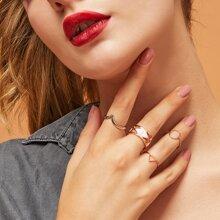 8pcs Geometric Design Ring