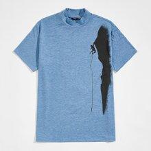 T-Shirt mit Stehkragen und Figur Grafik